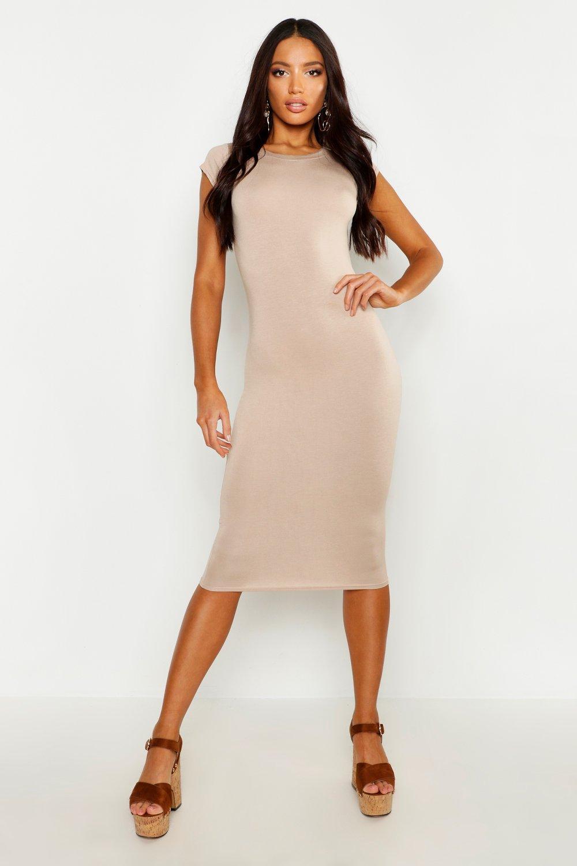 DRESSES Cap Sleeve Jersey Bodycon Midi Dress