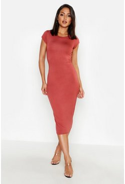 Terracotta orange Cap Sleeve Jersey Bodycon Midi Dress