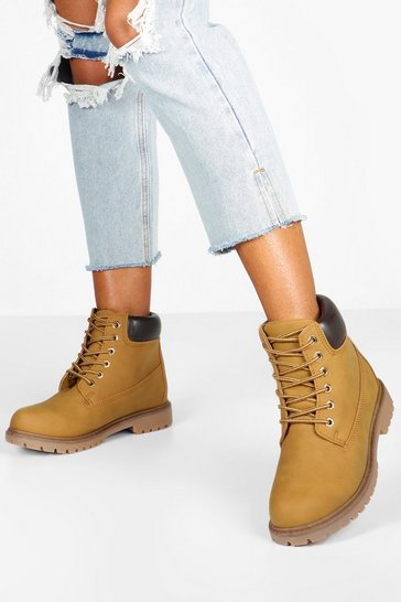 Beige Padded Cuff Chunky Hiker Boots