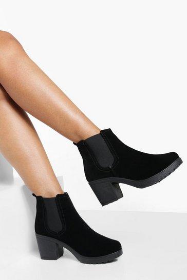 Black Block Heel Suedette Chelsea Boots