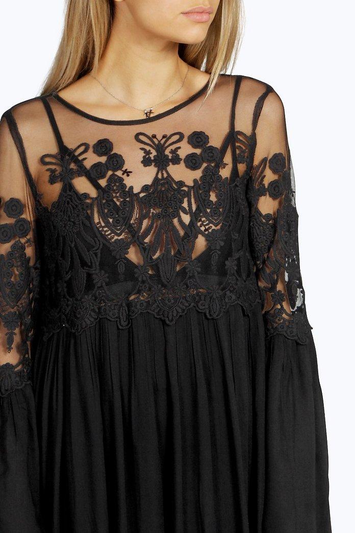 Boutique Carmen Kleid Mit Weiten Armeln Aus Spitze Boohoo