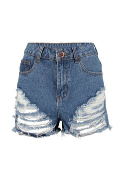 Dark blue High Waist Graduated Distressed Denim Shorts