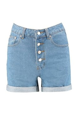 Mid blue Button Front Denim Mom Shorts