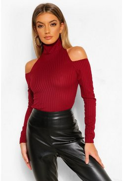 Rib Cold Shoulder High Neck Top, Berry rojo