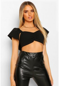 Ruched Puff Sleeve Crop Top, Black negro