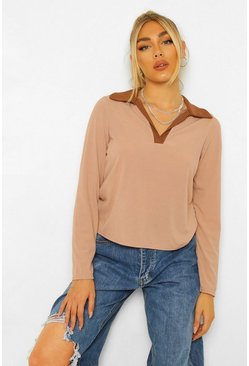Stone beige Rib Colour Block Polo Top