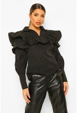 Black Geweven Blouse Met Ruches
