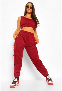 Berry red Crop Top and Cargo Pant Joggers Set