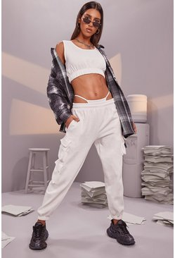 Crop Top and Cargo Pant Joggers Set, Cream blanc