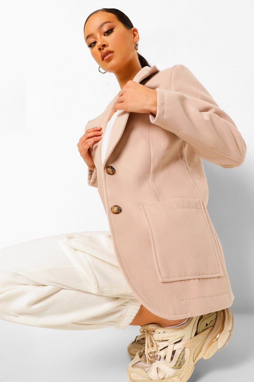 COATS & JACKETS Wool Look Button Through Blazer