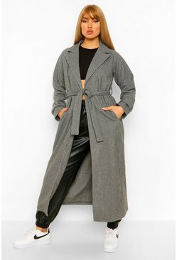 Black Dogtooth Longline Belted Wool Look Trench