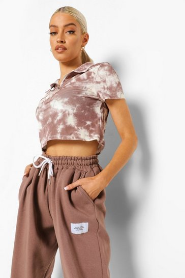 Mocha beige Brown Velour Tie Dye Zip Front Cropped Sweater