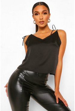 Black Tie Shoulder Plunge Front Satin Cami