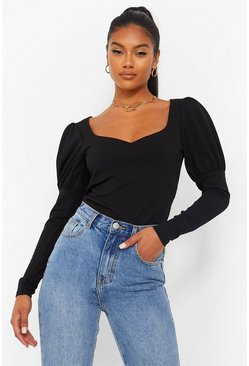 Seam Detail Puff Sleeve Bodysuit, Black noir