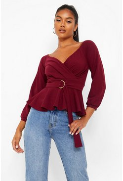 Berry röd Off shoulder-topp i crepe med peplum