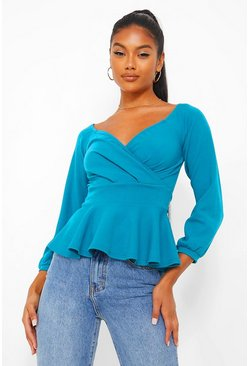 Teal green Crepe Off The Shoulder Peplum Top