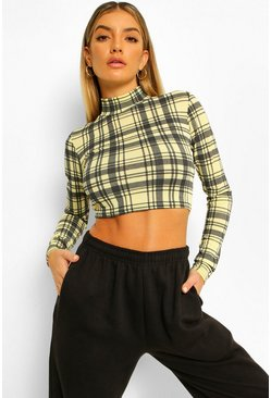 Yellow Check Lace Up Back High Neck Top