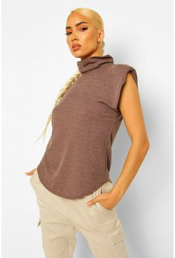 Chocolate brown Rib Roll Neck Shoulder Pad Top