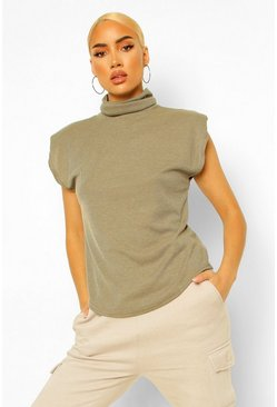 Khaki Rib Roll Neck Shoulder Pad Top