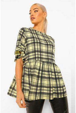 Yellow Check Frill Sleeve Smock Top