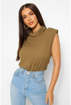 Khaki Rib Roll Neck Shoulder Pad Bodysuit