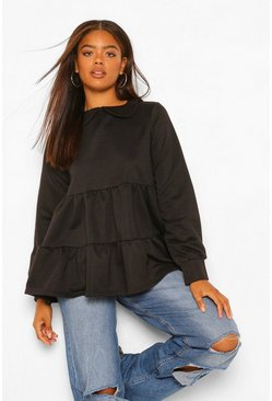 Black Peterpan Collar Smock Sweatshirt