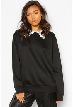 Black Oversized Sweater Met Peter Pan Kraag