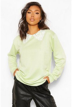 Washed lime yellow Oversized Peter Pan Sweater