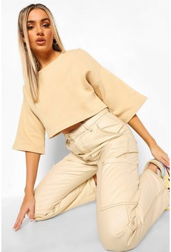 Stone beige Seam Detail Oversized Cropped Sweater
