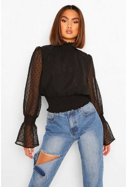 Black Woven Dobby High Neck Shirred Blouse