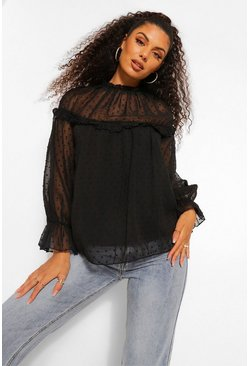 Black Woven Dobby Long Sleeve Blouse