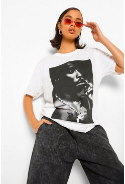 Tupac Photo License Print T-shirt, White weiß