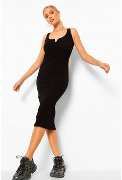 Black Ribbed Notch Front Midaxi Dress