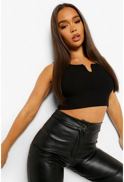 Black Ribbed Notch Cut Out Crop Top