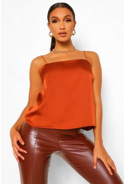 Rust orange Square Neck Satin Cami