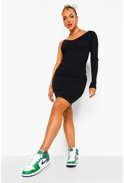 Black Ribbed One Shoulder Mini Dress