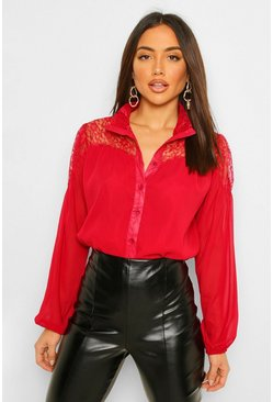 Berry red Lace Insert High Neck Blouse