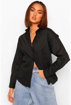 Black Woven Shoulder Detail Shirt