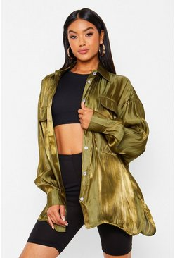 Satin Oversized Shirt, Khaki kaki