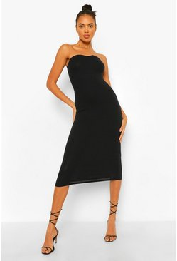 Black Ribbed Sweet Heart Neck Strapless Midaxi Dress