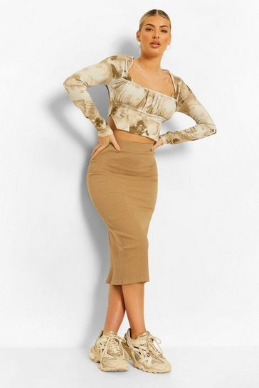 Stone beige Ribbed High Waisted Midi Skirt
