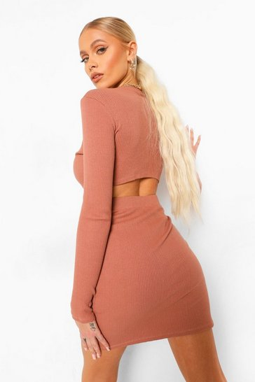 Taupe beige Ribbed Strap Detail Long Sleeve Mini Dress