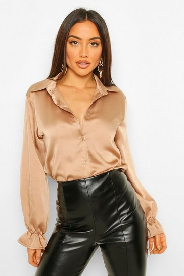 Nude Ruched Side Button Front Satin Blouse