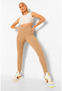 Stone beige Ribbed Deep Waistband Leggings