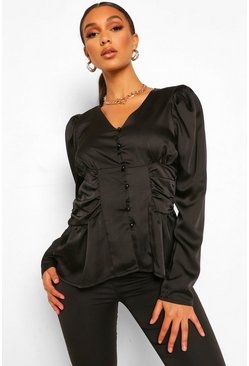 Black Ruched Side Button Front Satin Blouse
