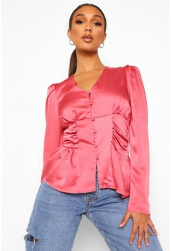 Rose pink Ruched Side Button Front Satin Blouse