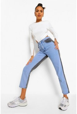 Mid blue blue Colour Block Denim Straight Leg Jeans