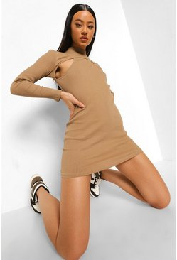 Stone beige Ribbed Cut Out High Neck Mini Dress