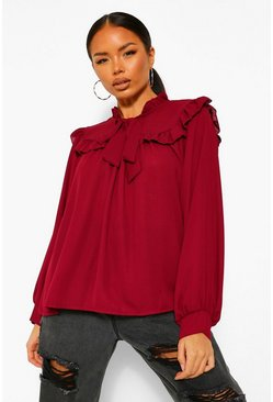 Berry red Ruffle Front Pussy Bow Blouse