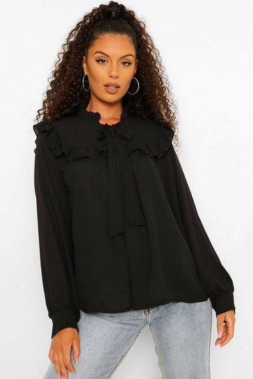 Black Ruffle Front Pussy Bow Blouse